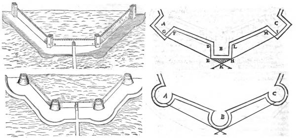 Obrázky z dobových knih ukazující zmenšení hluchého prostoru při využití rondelů