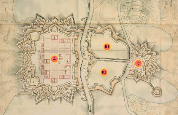 Části pevnosti Terezín na historickém plánu