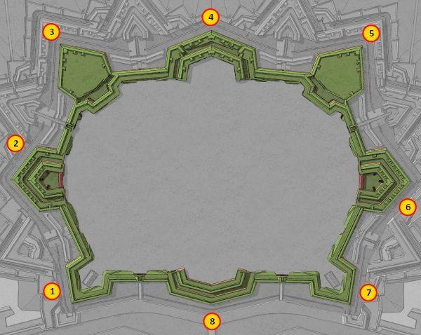 Osm bastionů tvořících základní obranu pevnosti
