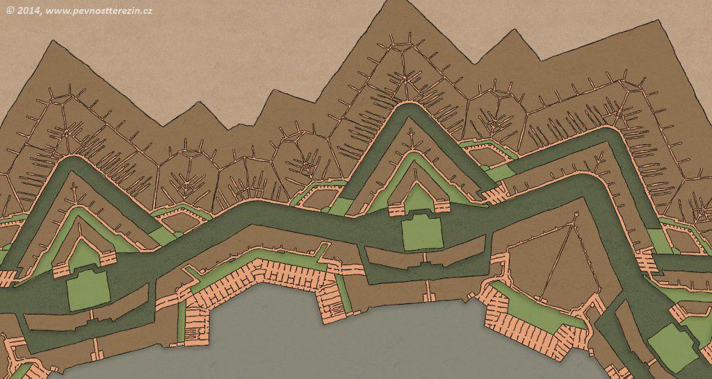 Pevnost Terezín - Síť podzemních chodeb před západní částí pevnosti d39393f027