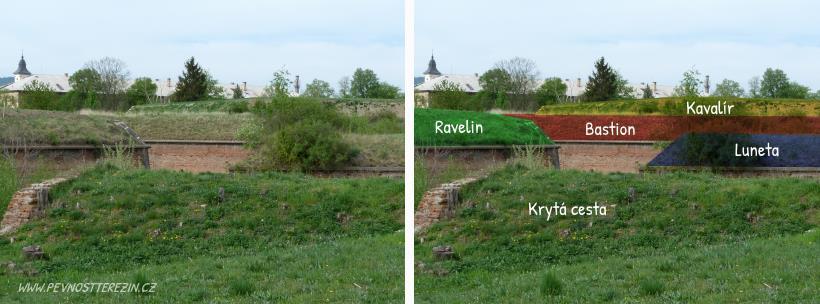 Kaskáda opevnění před bastionem 2
