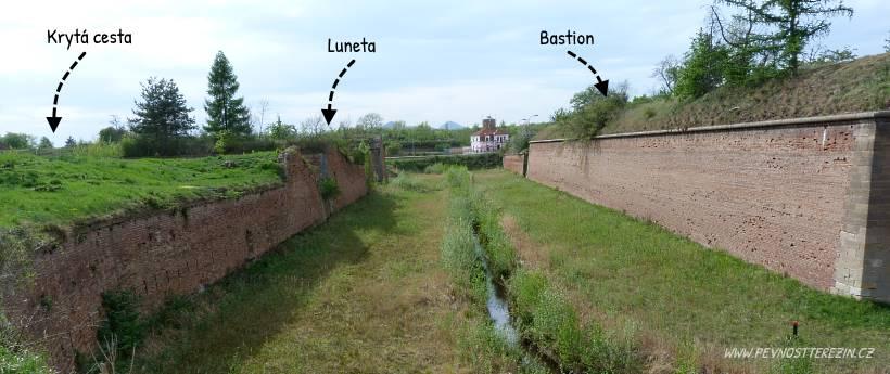 Kaskáda opevnění před bastionem 2 ze strany