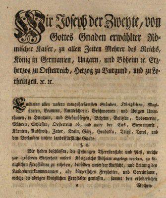Císařský dekret udělující Terezínu status královského města