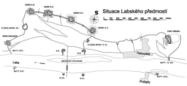 Nové Labské Předmostí - plán v roce 1866 během Prusko-Rakouské Války