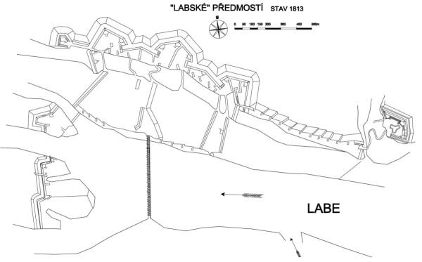 Staré Labské předmostí - plán v roce 1813 na sklonku napoleonských válek