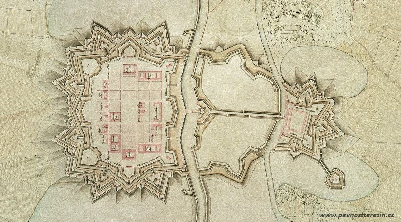 Plán pevnosti Terezín z roku 1790