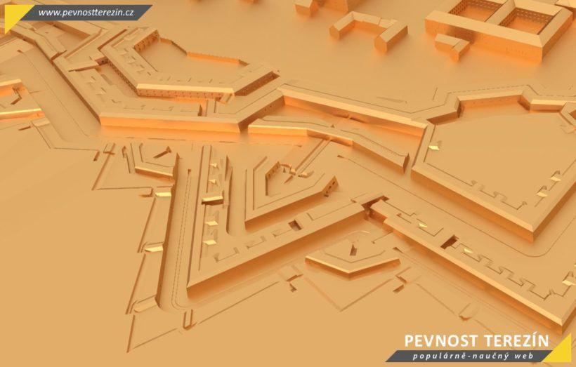 Pevnost Terezín - broznový 3D model - bastion 3