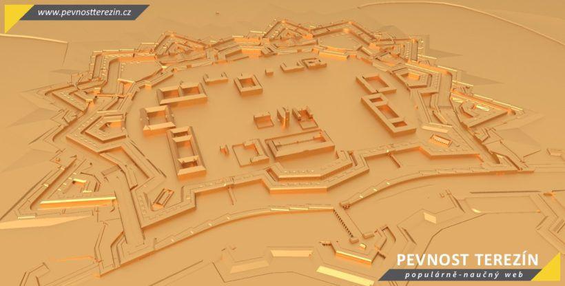 Pevnost Terezín - broznový 3D model - Hlavní pevnost od řeky