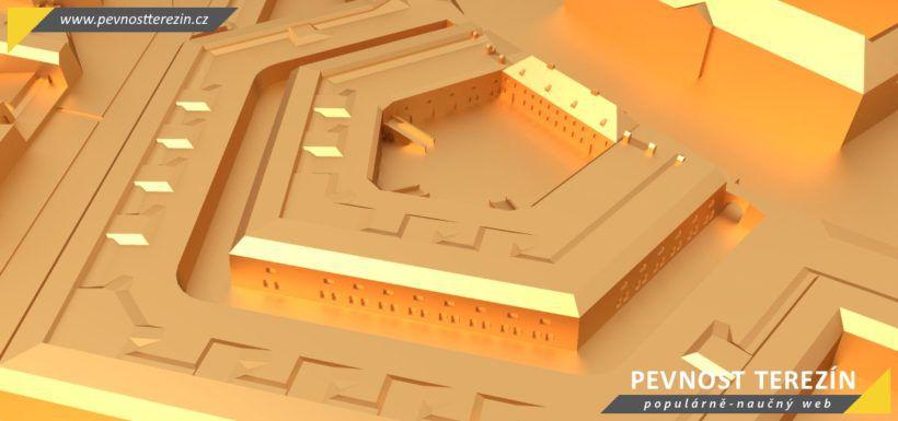 Pevnost Terezín - broznový 3D model - kavalír 2