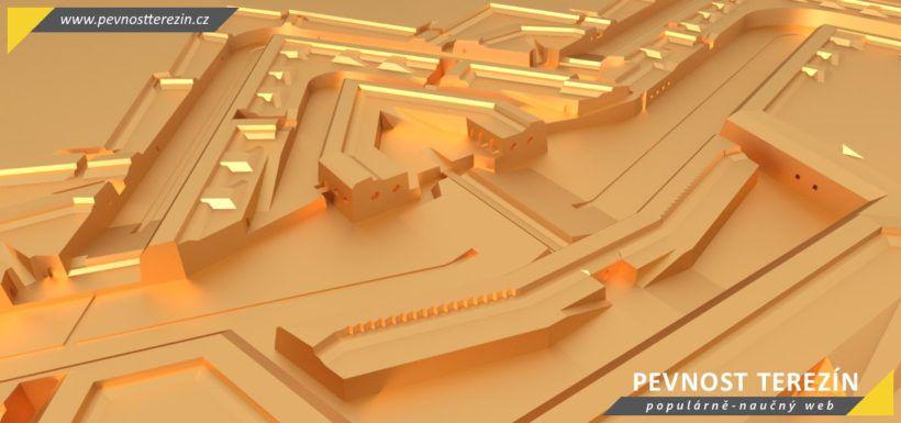 Pevnost Terezín - broznový 3D model - ravelin 18